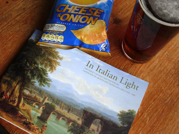 Pint of ale and a packet of crisps